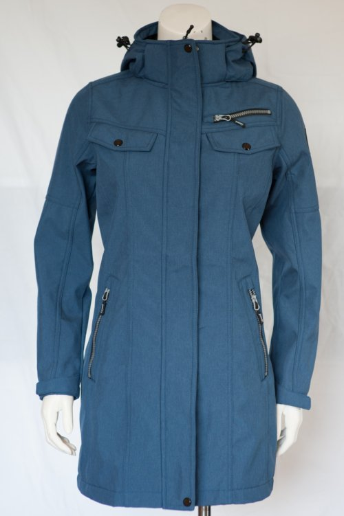 Lady's long softshell jacket waterresistant